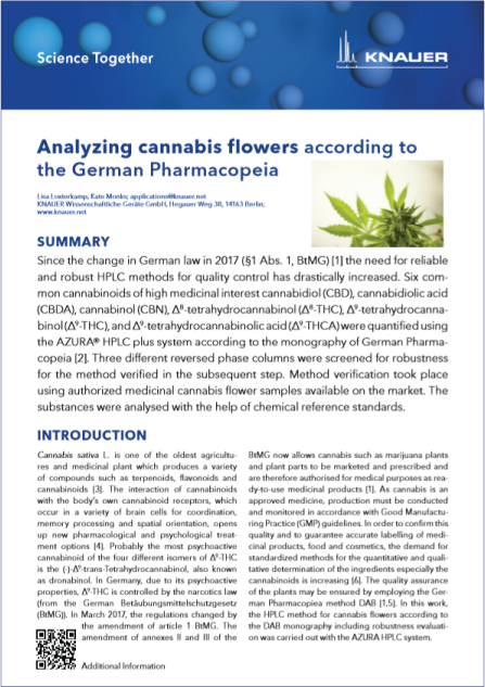 Thumbnail of PDF document on the HPLC analysis of cannabis flowers